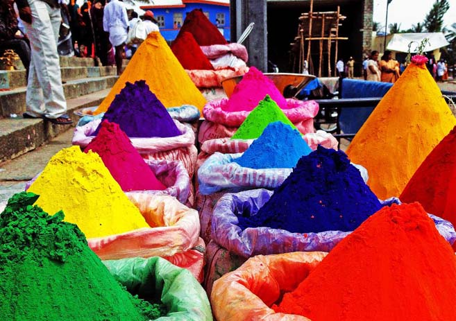 Arm yourself. Colourful powders to choose from. Photo by Shashank Ramesh
