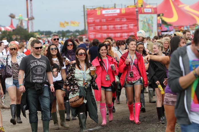 Crowds arriving for legendary performances at T In The Park, Kinross-shire, Scotland. Photo by Mike Gray
