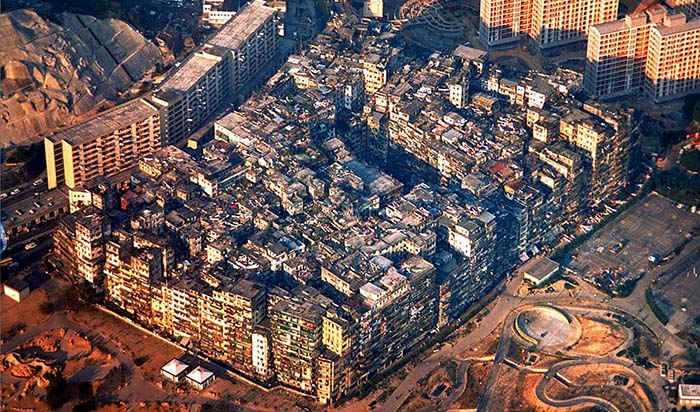 Roughly the same number of people who live in Texas lived in the Kowloon Walled City