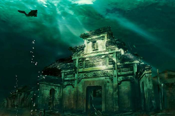Submerged Shicheng City under Qiandao Lake. Photo by Bored Panda