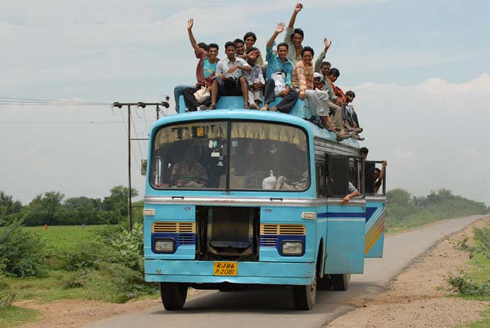 Travelling by bus in India is always exciting. Photo by Audley Blog