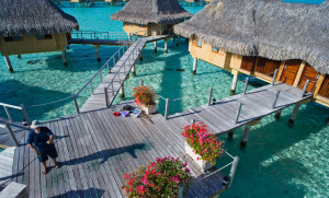 1 Water Bungalows at the InterContinental Le Moana Bora Bora Resort as seen by kite. Photo credit to Pierre Lesage Flickr1