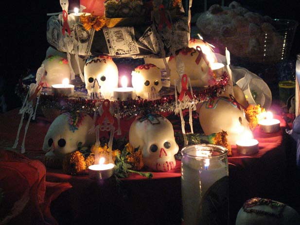Alter of death during a Dia de los Muertos festival. Photo by We Sleep Intents