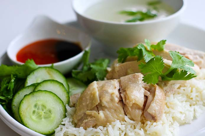 Hainanese chicken rice. Photo by Steamy Kitchen