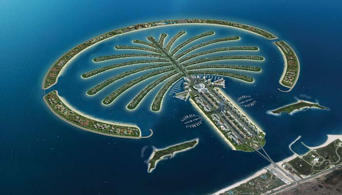 Palm Islands in Dubai are meticiosuly shaped like a palm tree. Photo by Interesting Engineering