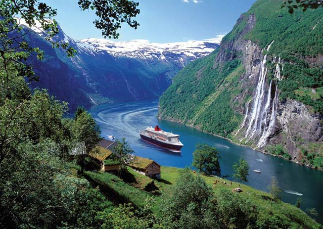 Passing through villages while cruising through Norwegian Fjords. Photo by Bols Over Cruise Club