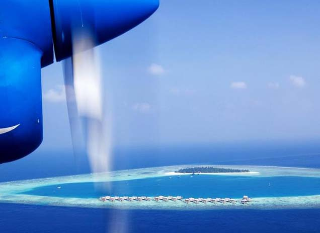 Ride in a skyplane and check out the Maldives from the sky. Photo by Last Minute