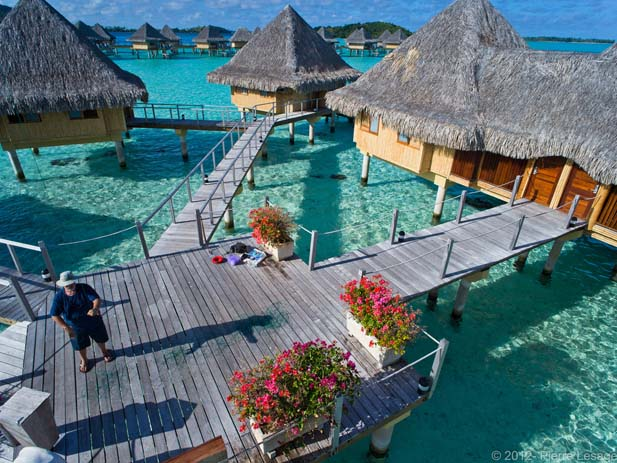 Water Bungalows at the InterContinental Le Moana Bora Bora Resort. Photo by Pierre Lesage, flickr