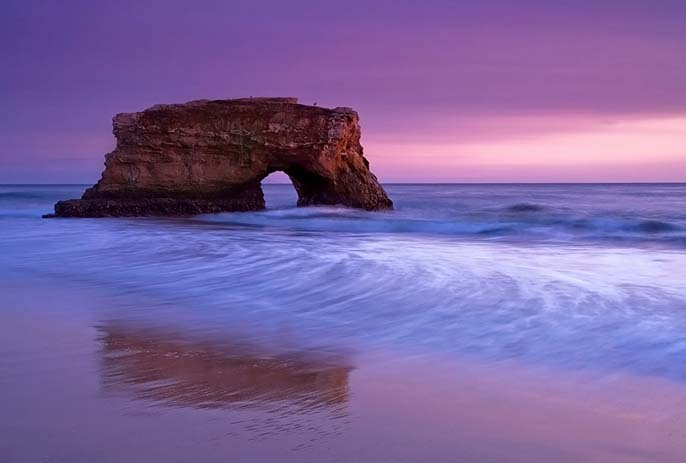 Natural bridge on Santa Cruz beach, California, Photo by Stephen Oachs , Pinterest