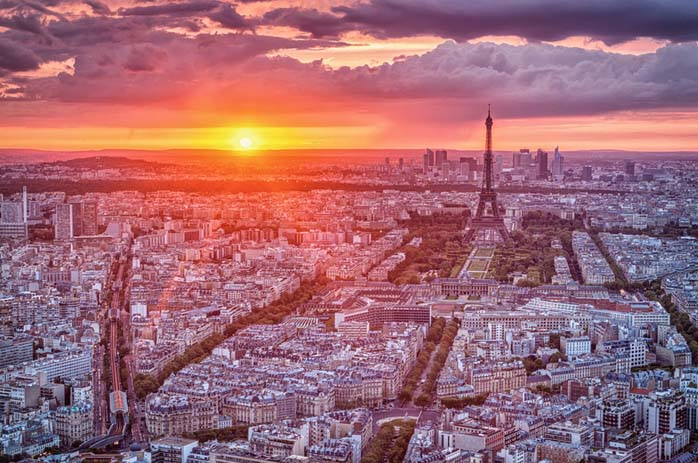 Paris Skyline Sunset. Photo by James Woodward, flickr