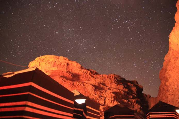 Camping under the stars in Wadi Rum, Jordan. Photo by Sophie Mayer