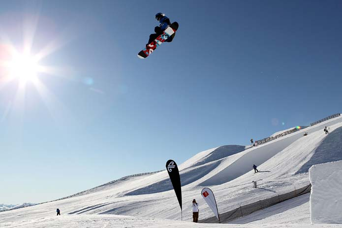 Flying over the tabletops at Cardrona. Photo Camilla Stoddart, Getty Images