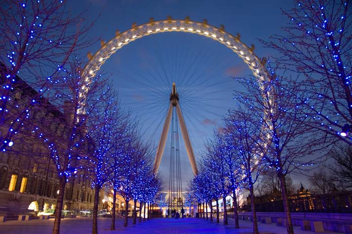London Eye during twilight. Photo by Wikicommons