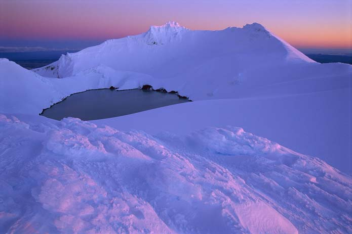 NZ winter evening on crater lake Mount Ruapehu Tongariro, Photo by picstopin
