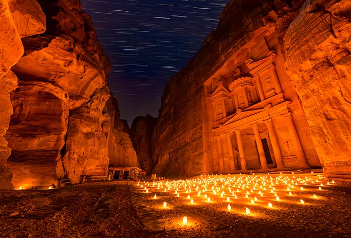 Petra by night, Jordan. Photo by Elia Locardi