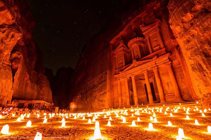 Petra illuminated by hundreds of candles, Jordan. Photo by peter.west.carey, Flickr