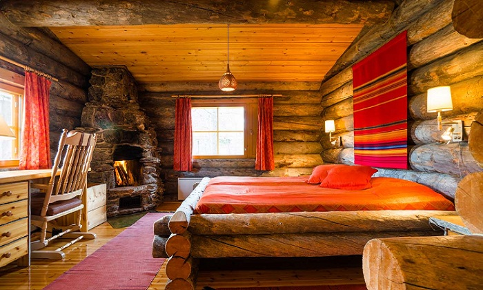 Inside the Kakslauttanen hotel log cabin Photo by kakslauttanen From Google images