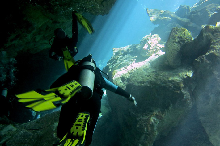 Incredible places to dive around the world: Cavern diving Cozumel, Mexico. Photo by Jeremaiah Davis, flickr