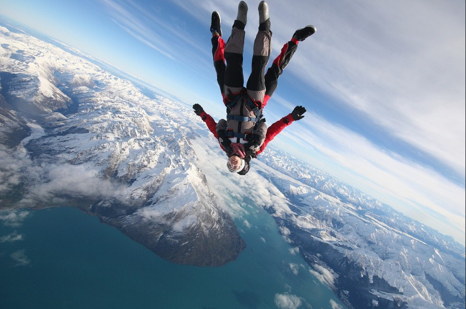 7 of best places to skydive around the world: Upside down freefall, Queenstown. Photo by NZONE Skydive, flickr