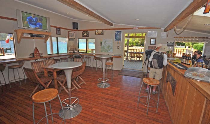 Inside the Punga Cove Resort bar, Queen Charlotte Sound. Photo by pungacove.co.nz