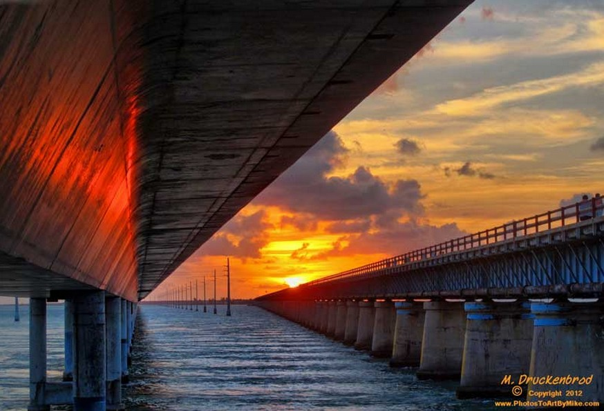 The greatest drives in the world: Sun setting over the old Seven Mile Bridge. Photo by Mike Druckenbrod, flickr
