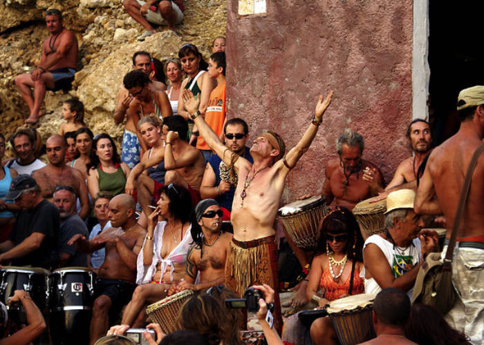 The best beach parties in the world: Ibiza beach drummers, Benirras Beach. Photo by ibizamaps.net