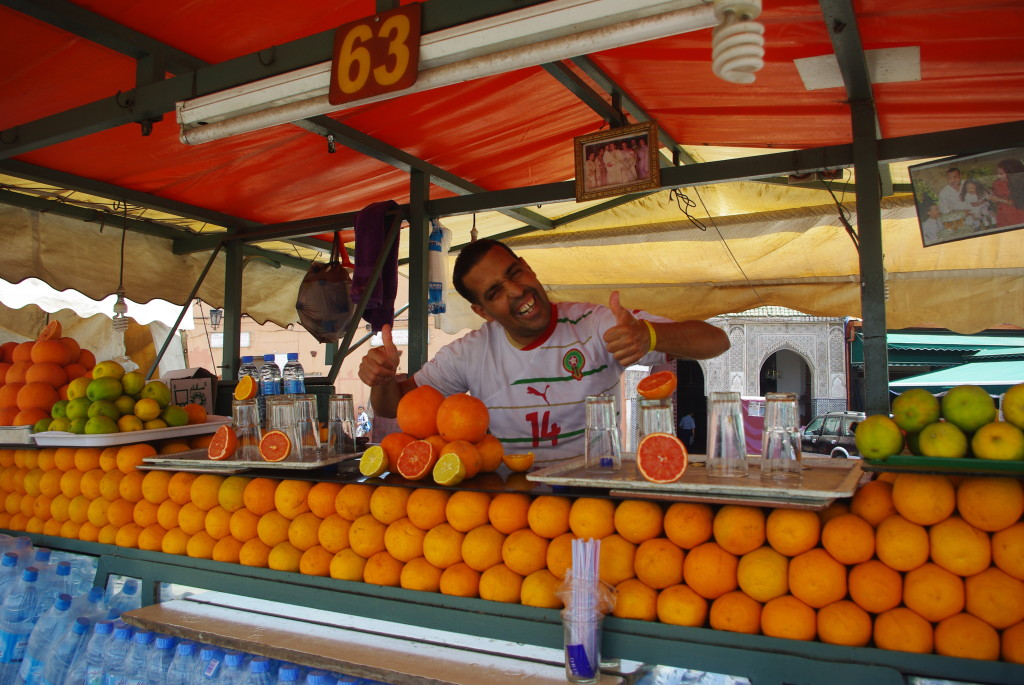 Things to do while staying in Marrakesh: Try freshly squeezed orange juice from one of the many stalls. Photo by budgettraveltalk.com