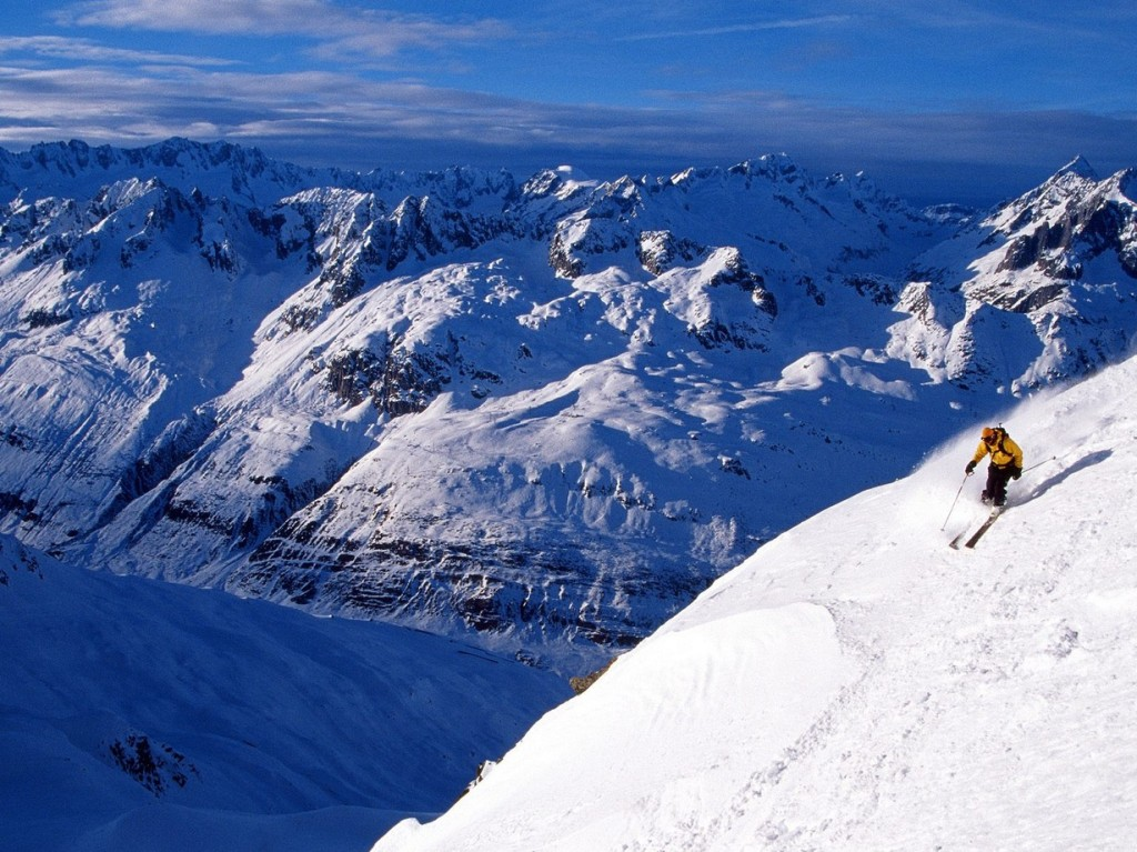 The best places to ski in Europe: Mountain top in Andermatt, Switzerland. Photo by wallpaperslot.co