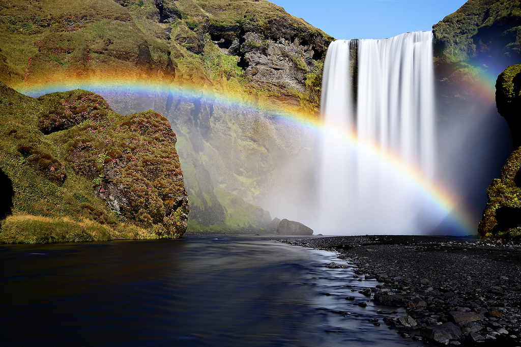 The best waterfalls: A double rainbow pictured at Skogafoss in Iceland. Photo by Oilfighter, flickr
