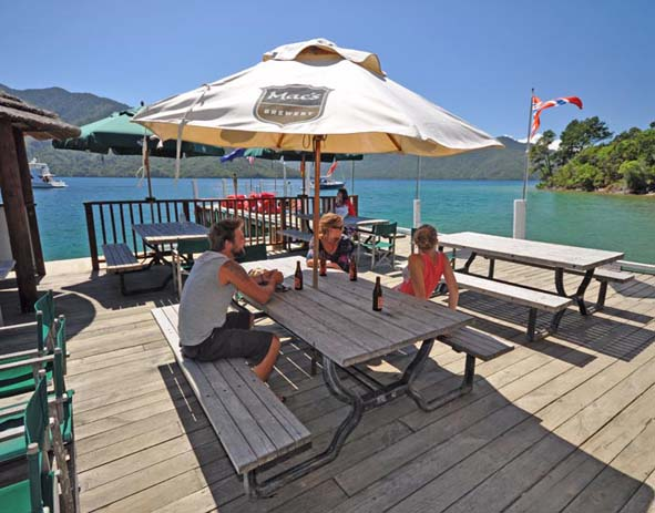 Punga Cove Resort Bar, Queen Charlotte Sound. Photo by pungacove.co.nz