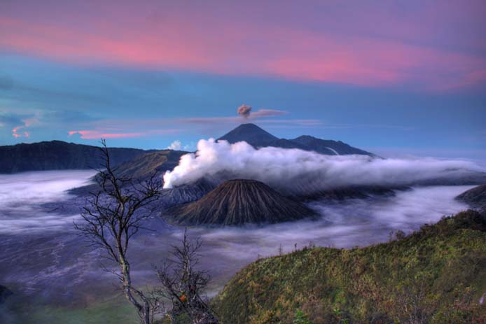 Mount Bromo and the surrounding volcanoes which are part of the Tengger Caldera, Java Indonesia. Photo by Michael Day, flickr