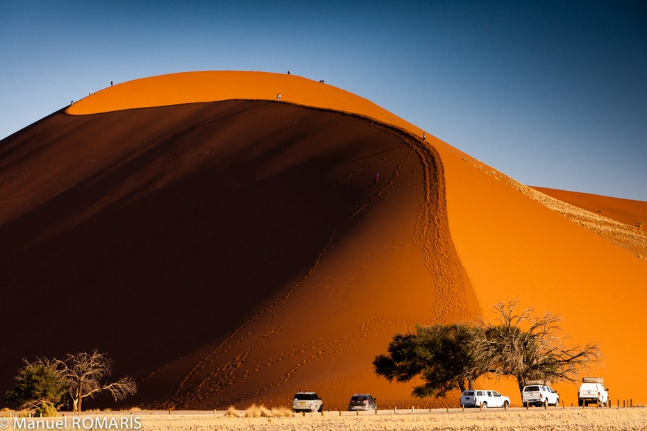 deserts in Namibia: Massive sand dunes make for challenging hiking. Photo by Manuel ROMARIS, Flickr