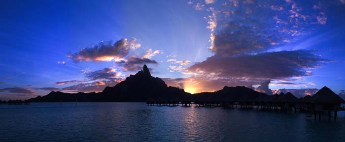 Mount Otemanu and Mount Pahia dominate the island of Bora Bora. Photo by Marc CARAVEO, Flickr