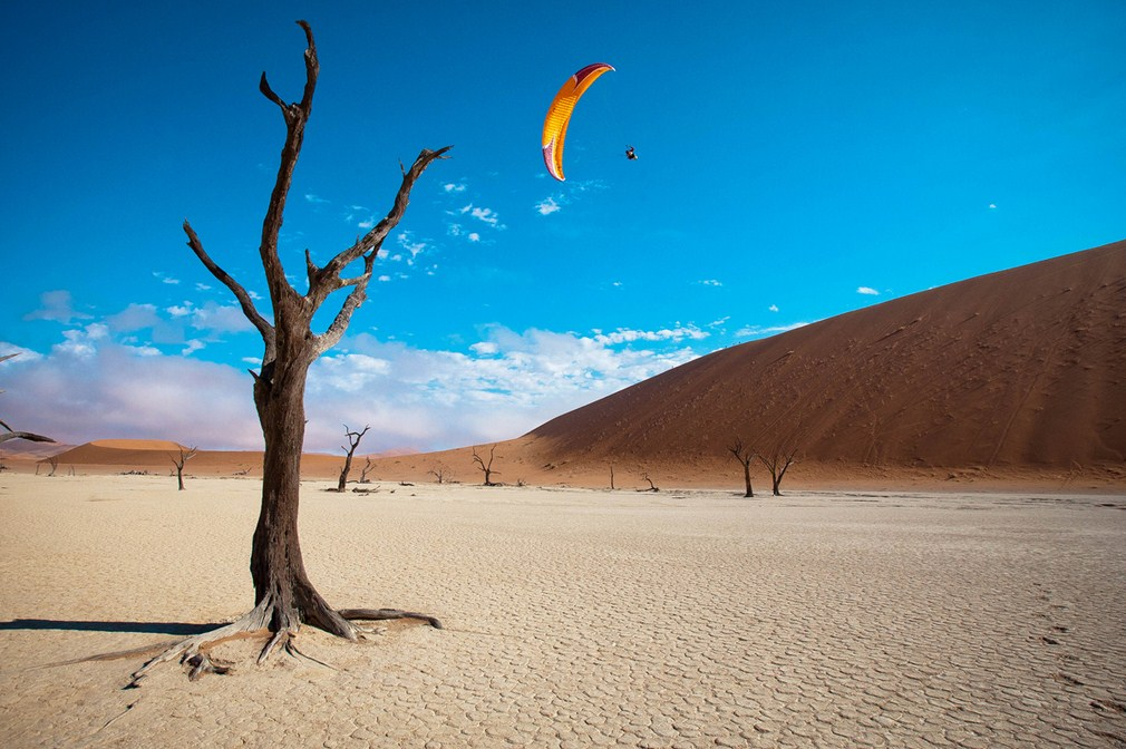 Deserts in Nambia: Paragliding over the Namib Desert. Photo by, Business Insider