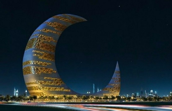 Crescent Moon Tower in Dubai, UAE. Photo by Karen Fu, Pinterest