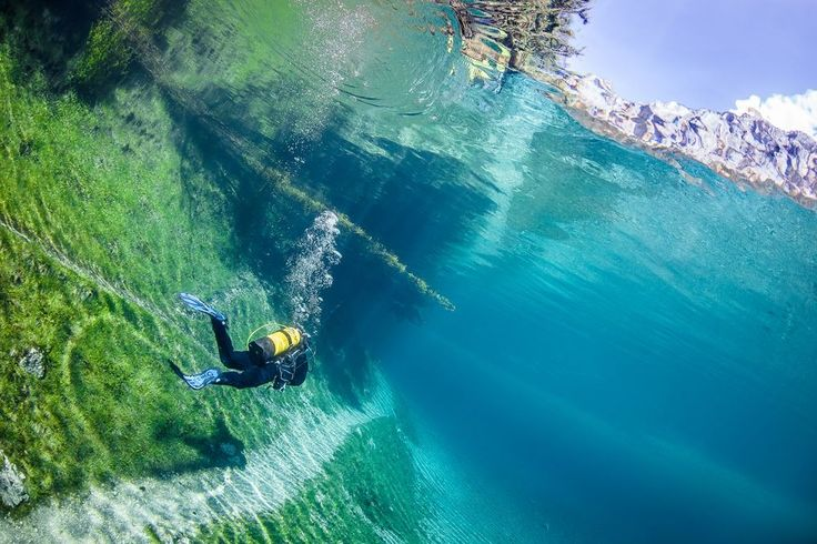 Scuba dive through an alpine meadow. Photo by pinimg.com