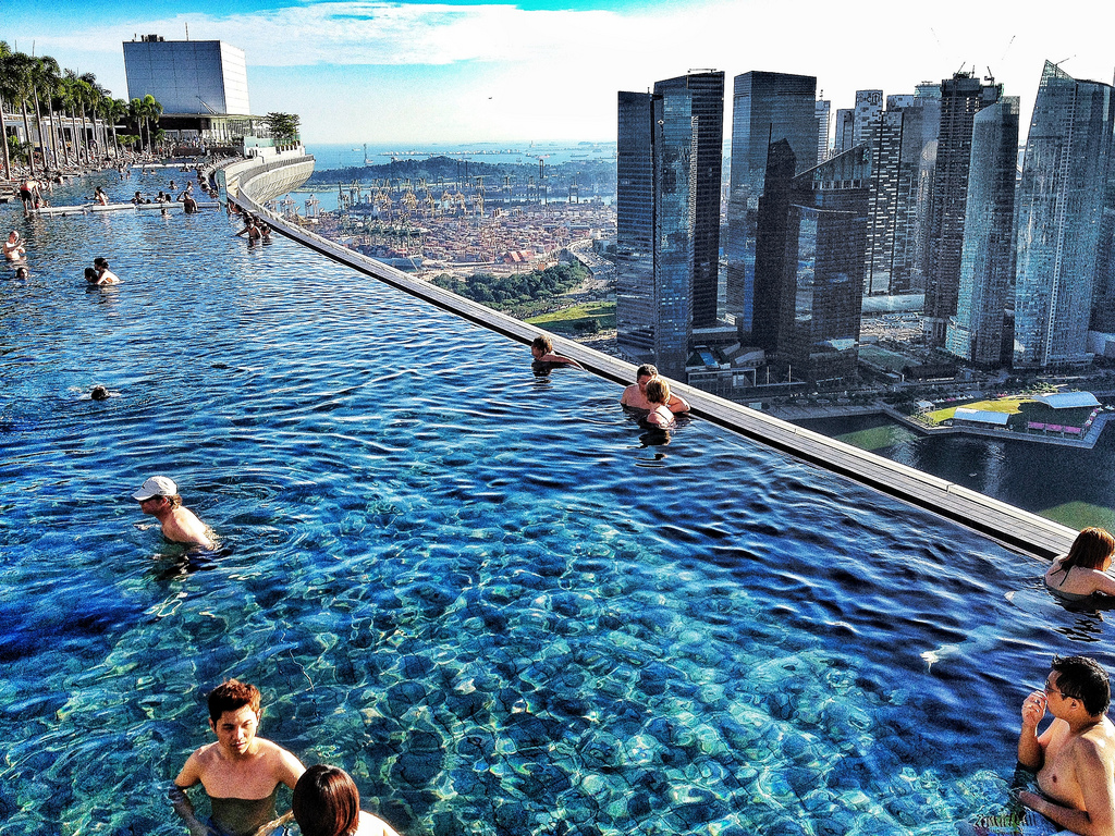 The infinity pool at the Marina Bay Sands Hotel in Singapore has breathtaking views of the city. Photo by luca.sartoni, Flickr