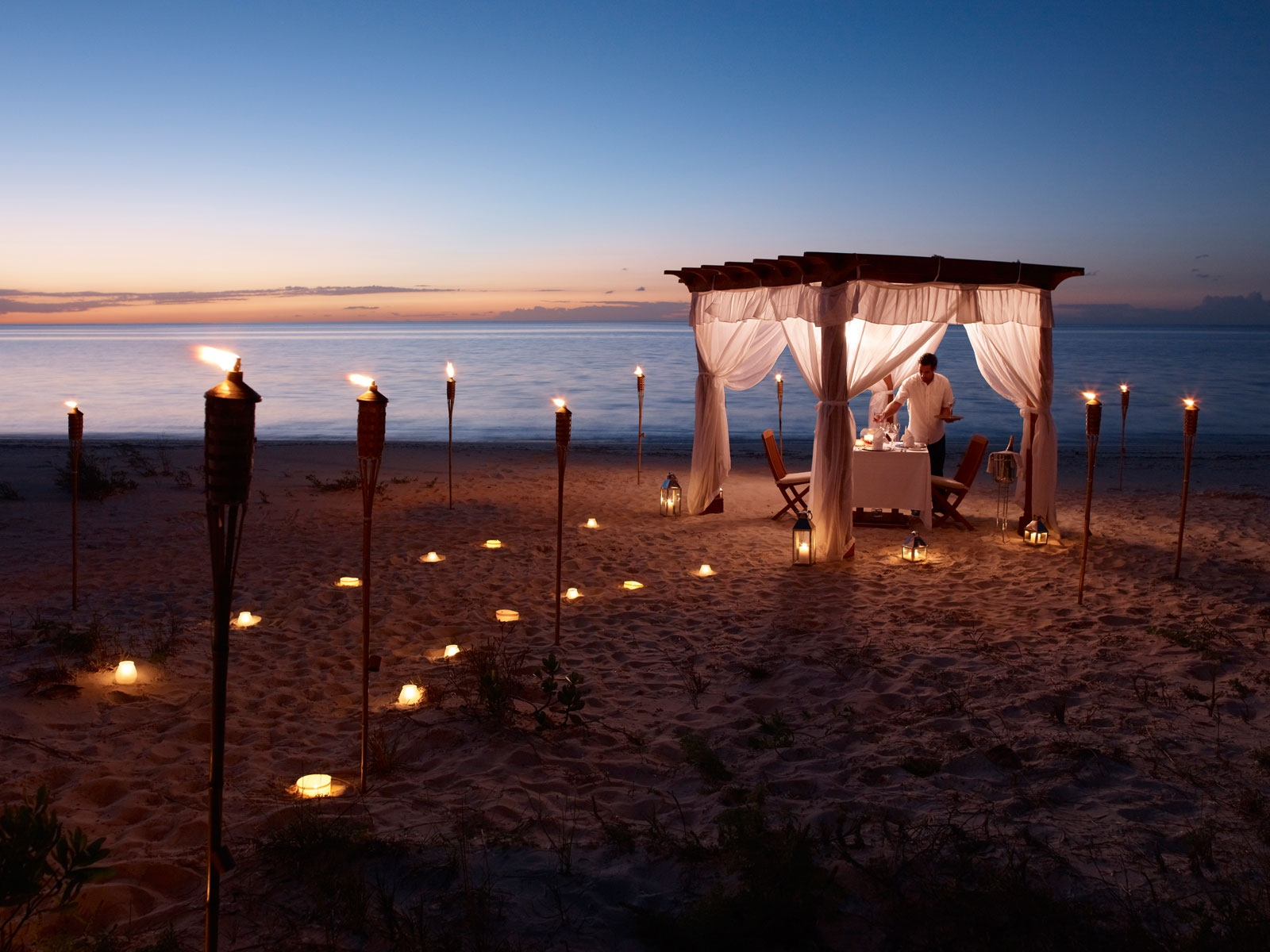 Enjoy Your Dinner On The Beach In A Candlelit Pavillion Perfect For Romantic Evening