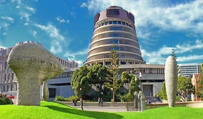 Wellington Parliament, the Beehive. Photo by cloudfront.net