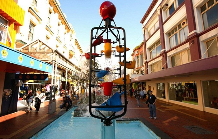 See the quirky bucket fountain on Cuba Street. Photo by sandalroad.com