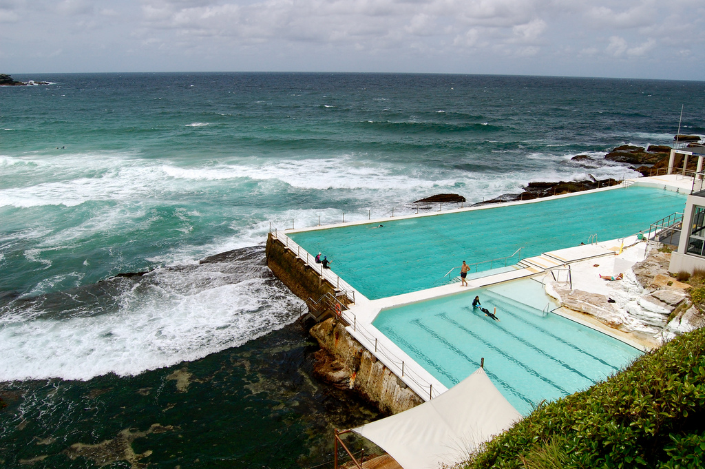 Swimming laps beecomes special at the Bondi Icebergs pool in Sydney, Australia. Photo by Michelle, Flickr
