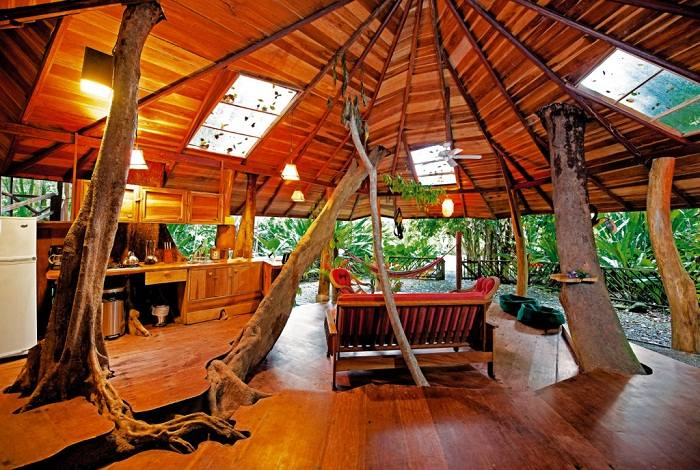 The trees growing through the floor reminds you where you are. Tree House Lodge, Costa Rica. Photo by costaricatreehouse.com