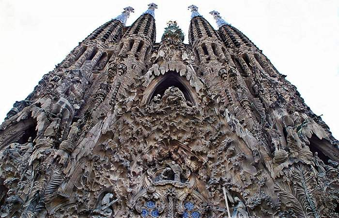 The Sagrada Familia in Spain has a mix between Gothic and Art Nouveau. Photo by Antonio Gil, flickr