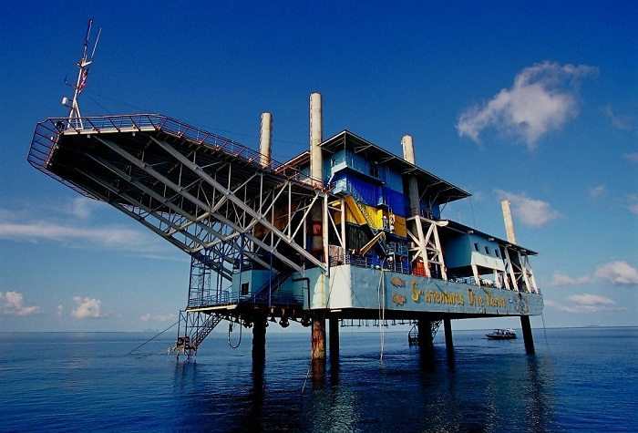 The isolated Seaventures rig dive hotel. Photo via photoride.com