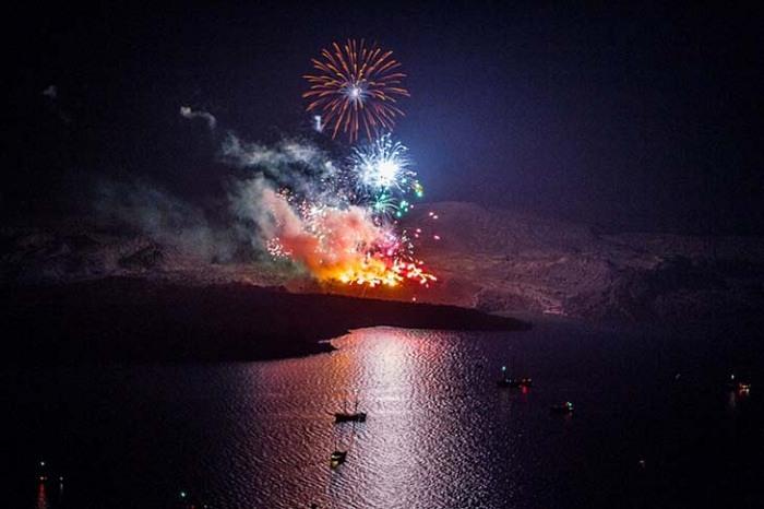 Santorini Fireworks by Dana Villas