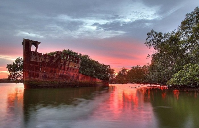 The SS Ayrfield is one of many decommissioned ships in the Homebush Bay.