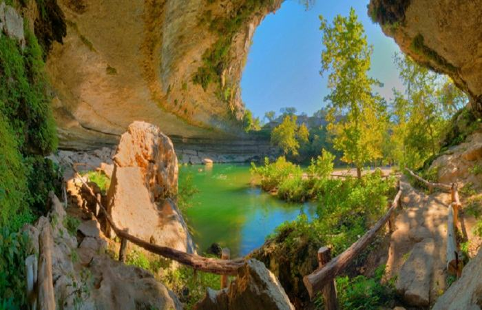 Lake Hamilton Pool was formed when the cave collapsed