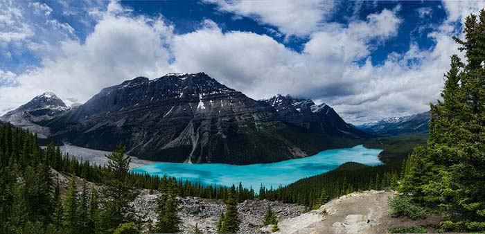 Lake Peyto is a glacier fed lake in the Canadian Rockies. Photo by Tobi 87