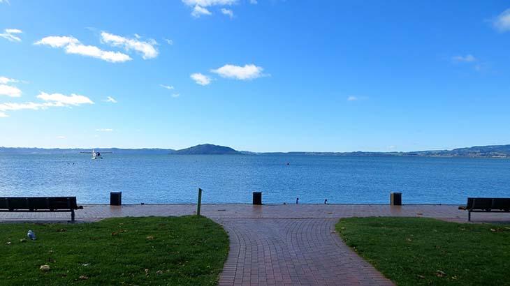 Lake Rotorua from the town of Rotorua