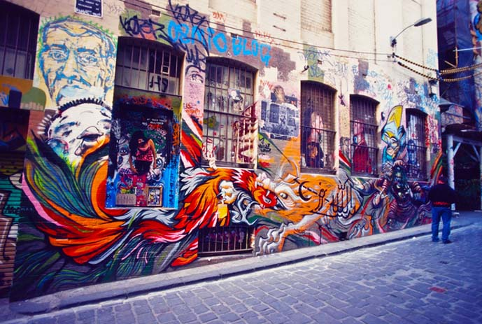 Find street art splashed around the streets of Melbourne. Photo by media.afar.com